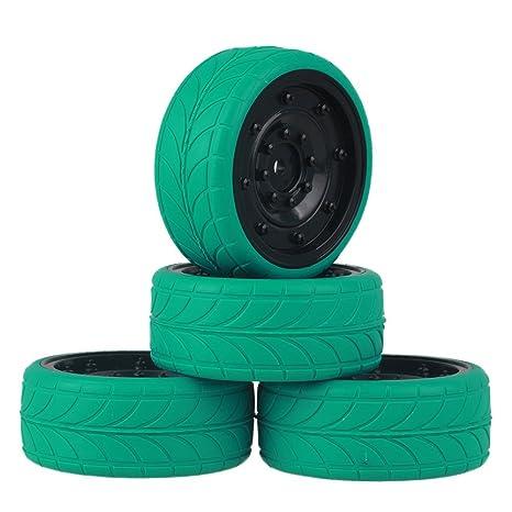 mxfans negro imitar rueda de plástico borde + flecha Verde patrón neumático de caucho para RC