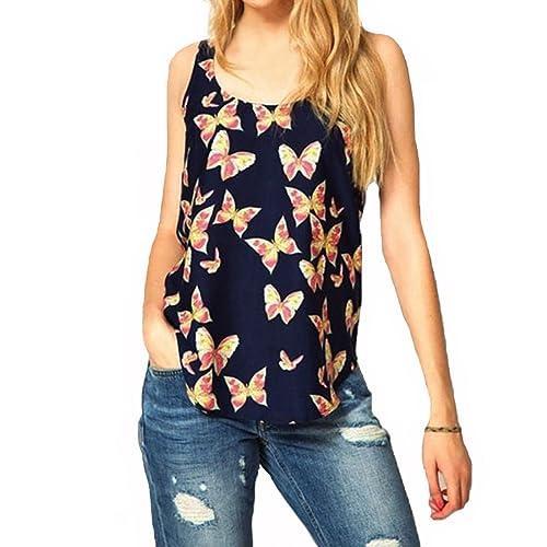 Rcool Camisas Sin Mangas de la Camiseta de la Gasa de la Impresión de la Mariposa de las Mujeres Chaleco Top