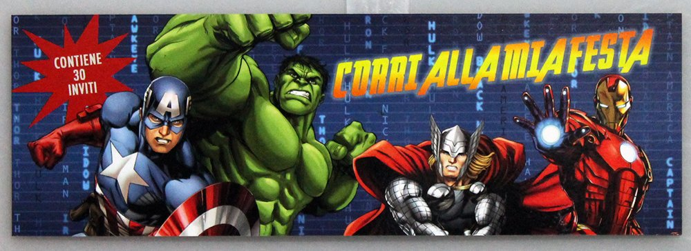 Blocchetto 30 Inviti Compleanno Festa Marvel Avengers Capitan