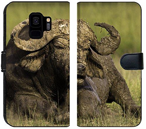 Liili Premium Samsung Galaxy S9 Flip Micro Fabric Wallet Case African Cape Buffalo Photo 20215705 ()