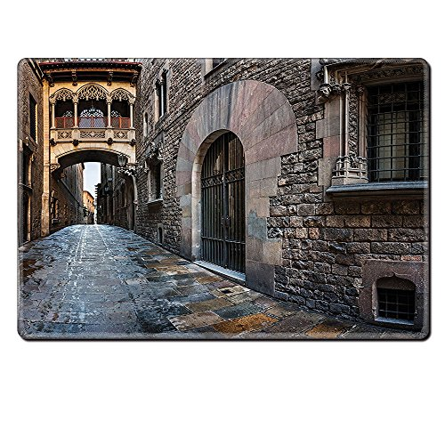 Mouse Pad Unique Custom Printed Mousepad Medieval Decor Collection Gothic Quarter And Bridge Spainish Old Medieval Streets Historical Heritage The Past Photo Grey Stitched Edge Non Slip Rubber