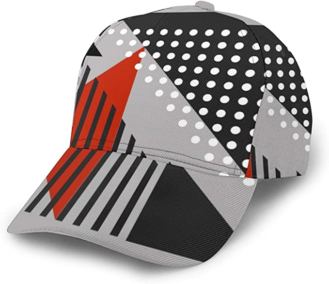 Gorra de béisbol Moderna Abstracta de Color Negro, Rojo, Blanco ...