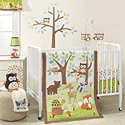 Bedtime Originals Friendly Forest Woodland, Girl's 3 Piece Bedding Set, Green/Brown