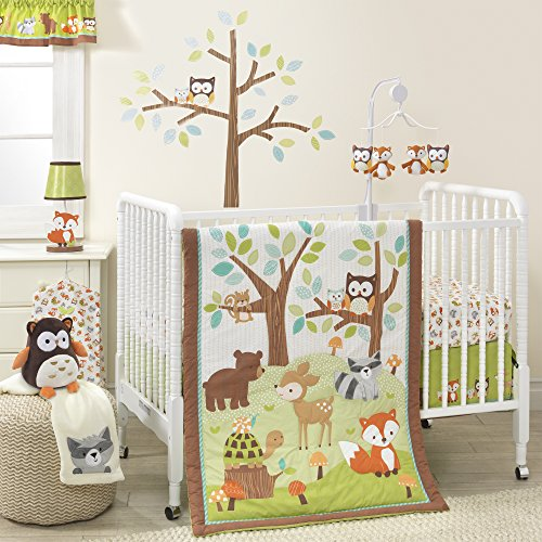 Bedtime Originals Friendly elevated Woodland, 3 Piece Bedding Set, Green/Brown