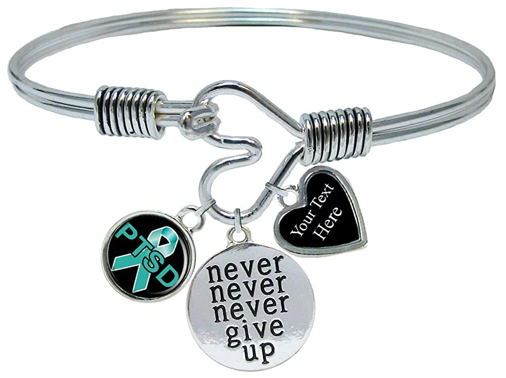 Holly Road PTSD Awareness Never Give Up Bracelet Jewelry Choose Your Text