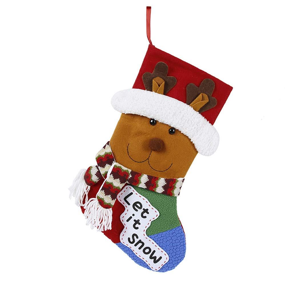 Miss X DIY 2 Pack 17'' Large 3D Burlap Christmas Stockings for Kids Cute Santa & Snowman Classic Christmas Stockings (Elk F)