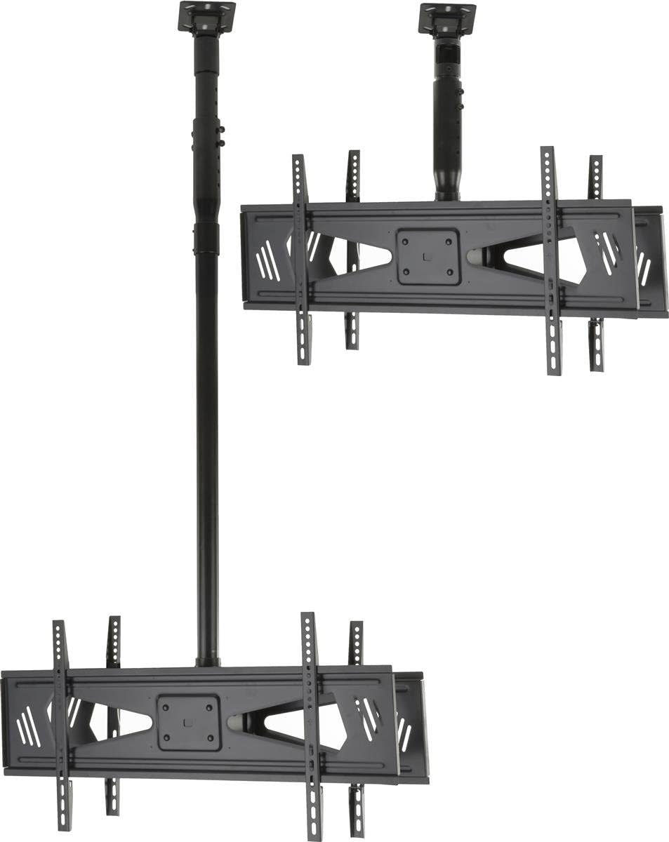 Ceiling TV Mount for 37 to 70 Flat Screen Monitors, Double Sided, Height Adjustable, Steel Black