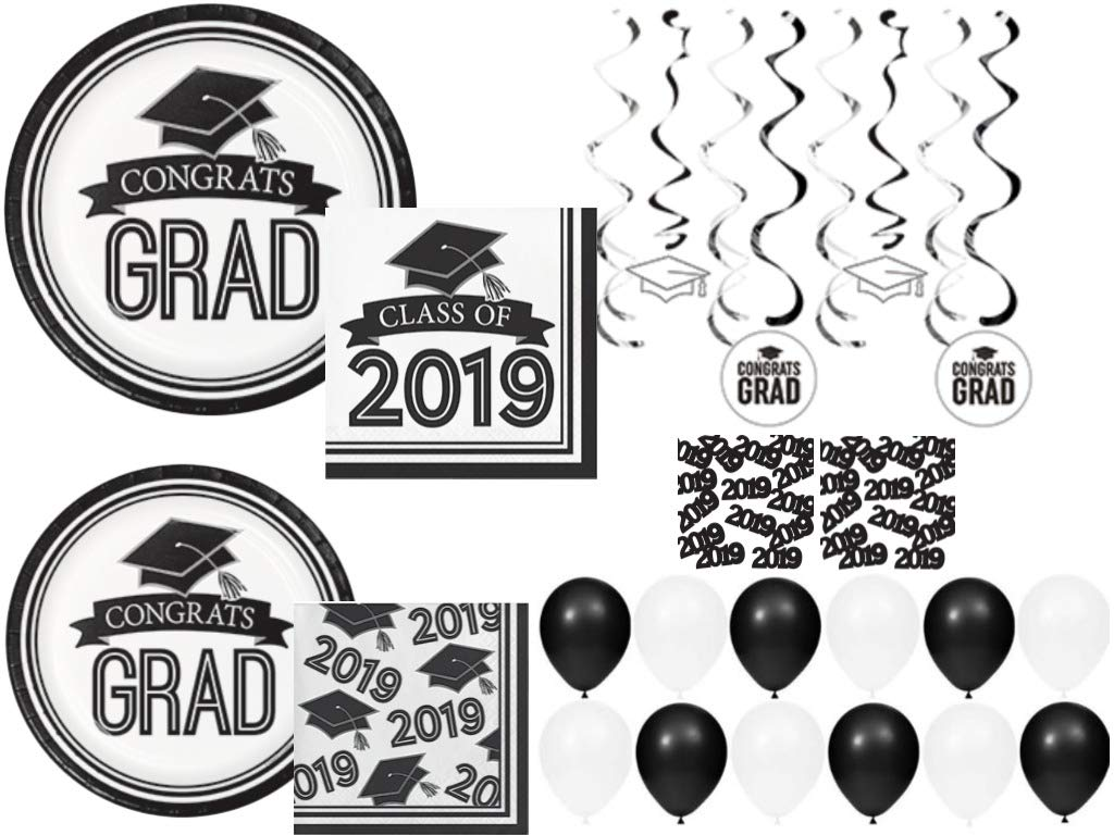 Class of 2019 Graduation School Spirit White & Black Party Tableware & Decorations for 36 Guests