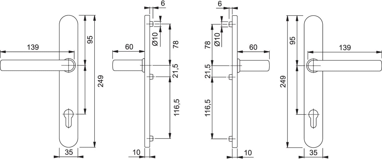 HOPPE Wechselgarnitur Liverpool Dr/ücker-Knopf Messing Schmalschild PZ 92 mm| Haust/ür-Garnitur