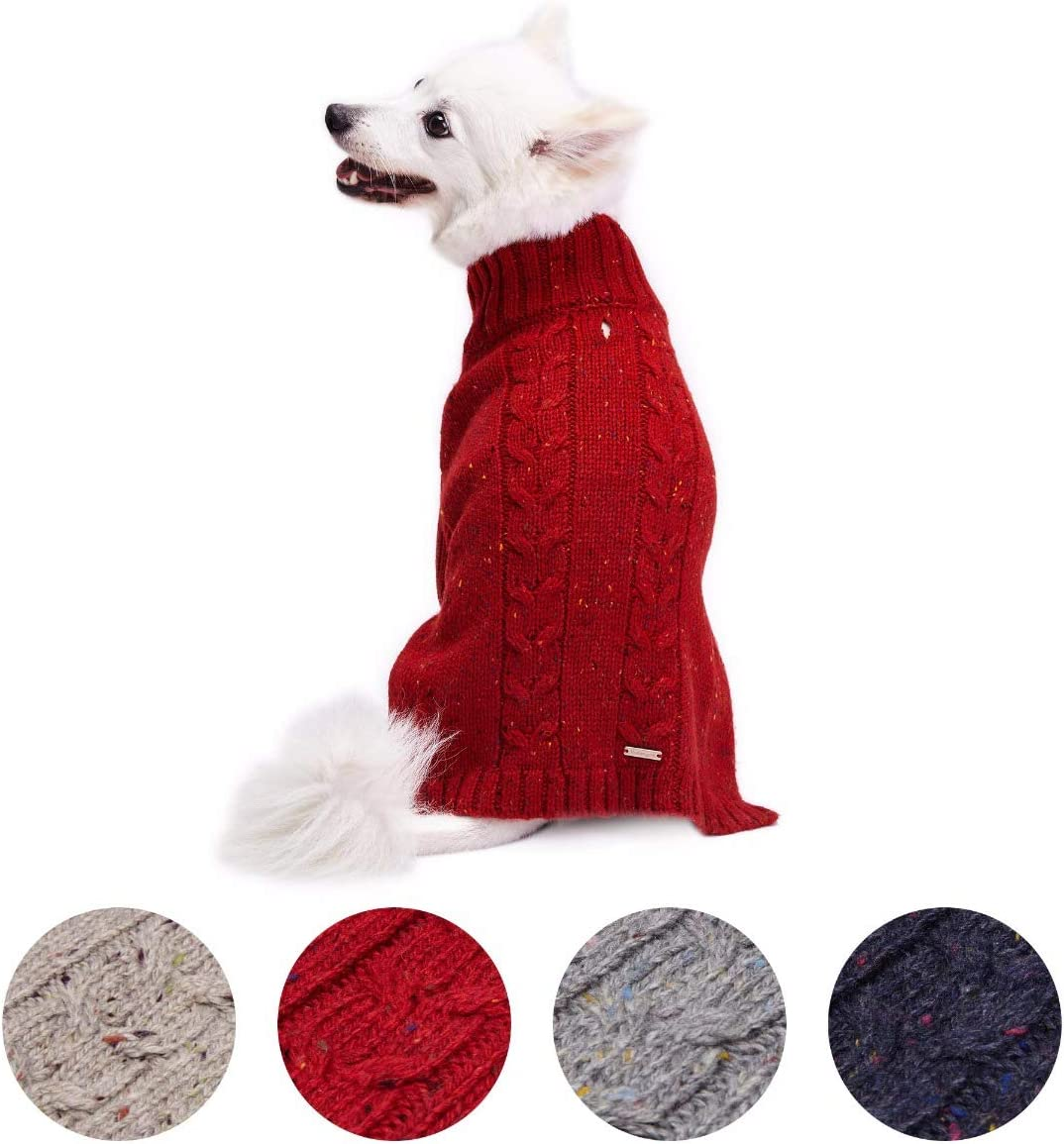 Blueberry Pet 20 Colors Wool Blend or Acrylic Classic Cable Knit Interlock Dog Sweater