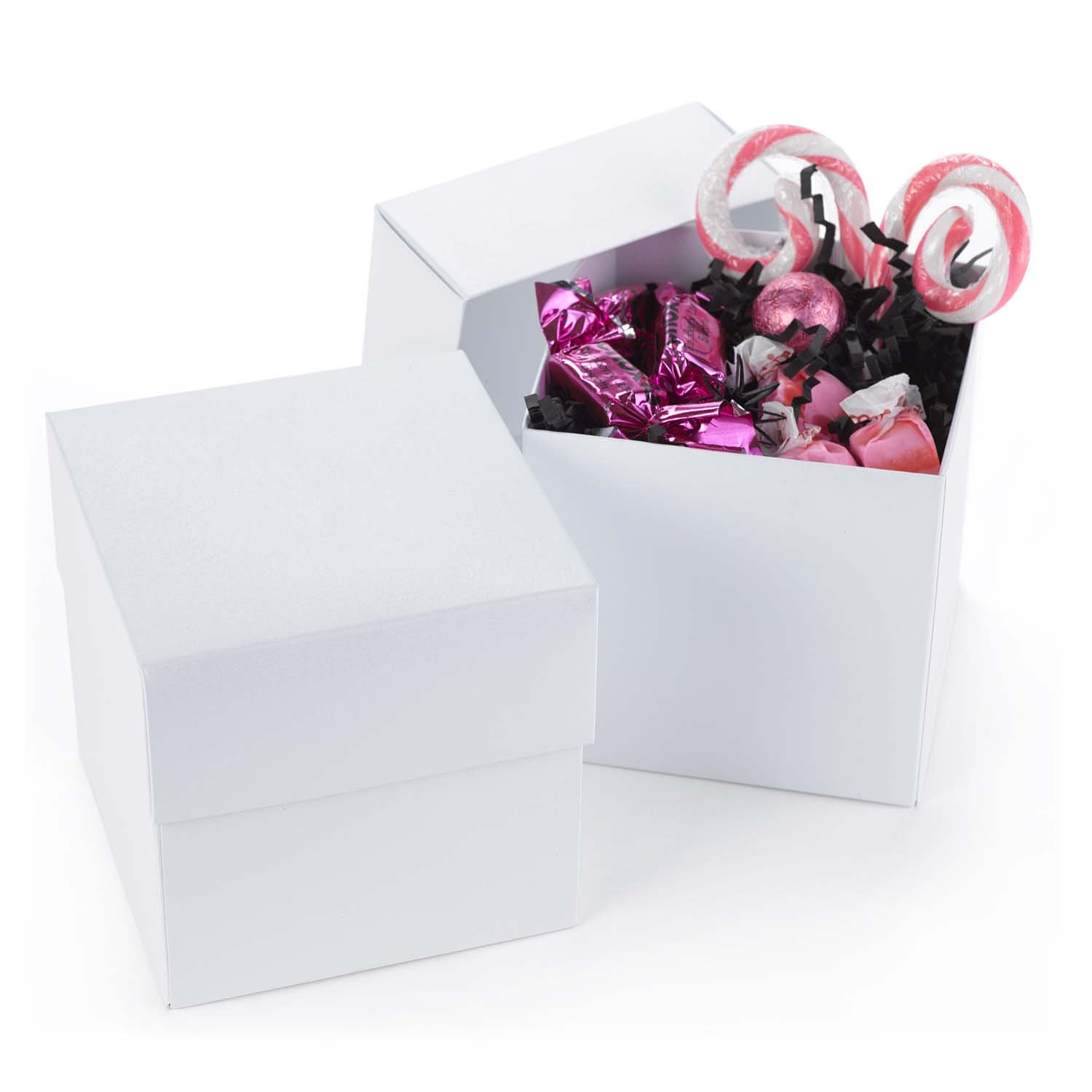 Hortense B. Hewitt 2-Piece Cup Cake Boxes, White Shimmer, Set of 25