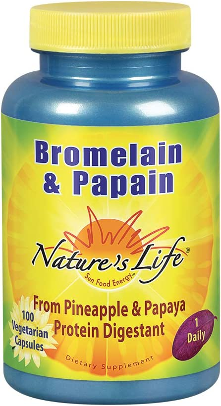 Natures Life Bromelain & Papain | Proteolytic Enzymes for Digestive Support & Comfort | from Pineapple & Papaya | 250mg Ea | 100 Vegetarian Capsules