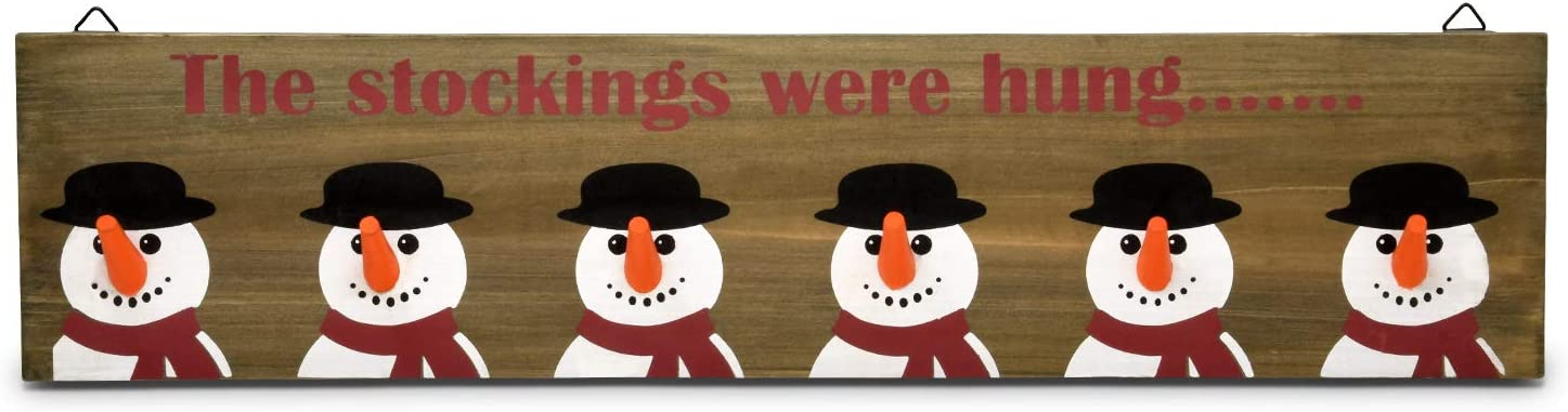 Gift Boutique Christmas Stocking Holder Rustic Wooden Sign, Snowmen Wall Mount Hanging Sign, 6 Carrot Hook Stockings Hangers for Mantle Fireplace Shelf Coat Keys Stocking Holder for Holiday Decor