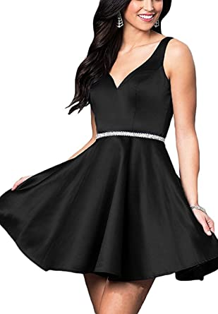 b145e3ff3c6 Prom Dress V-Neck Simple A-Line Short Homecoming Dresses Sleeveless Black