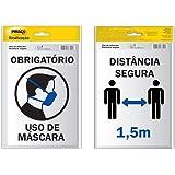 Placa De Sinalização, Pimaco, Adesivo, Distância Segura o Uso de Máscara, 14x19cm