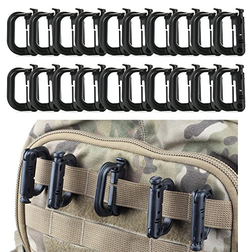 - FansArriche 20 Pcs Multipurpose D-Ring Grimloc Locking for Molle Webbing with Gift Box (Black)