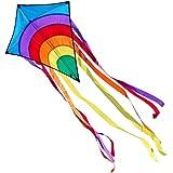 Einleiner-Drachen - Rainbow Eddy BLUE - für Kinder ab 3 Jahren - Abmessung: 65x74cm - inkl. 80m Drachenschnur und 8x105cm Streifenschwänze