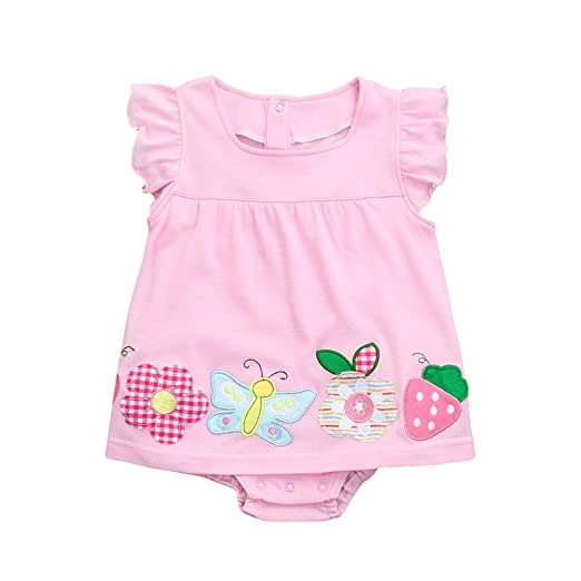 b6873eccabc4 Amazon.com  Newborn Infant Toddler Baby Girls Romper Jumpsuit Dress  Cuekondy Cute Butterfly Flower Strawberry Embroidered Playsuit Summer  Clothes (Pink