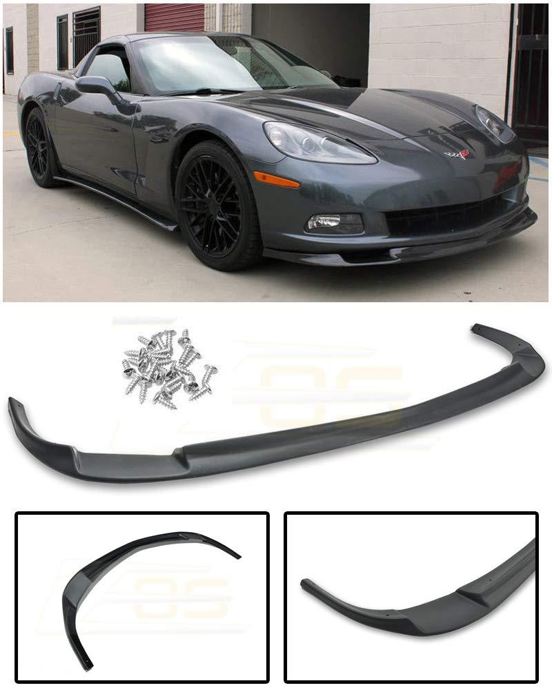 Extreme Online Store Replacement for 2005-2013 Chevrolet Corvette C6 Base Models | EOS ZR1 Style ABS Plastic Primer Black Front Bumper Lower Lip Splitter FLIP-083-ABS
