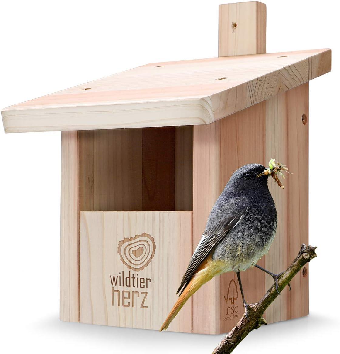 wildtier herz | Caja nido para colas rojas, petirrojos y compañía, atornillado y resistente a la intemperie, Casa de pájaros e incubadora para criadores de nicho