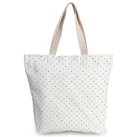 08dcb752a iPrint Stylish Canvas Tote Bag,Retro,Small Polka Dots on a White Background  in