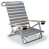 Telescope Casual Original Mini-Sun Chaise Folding Beach Arm Chair with Cup Holders, Classic Stripe