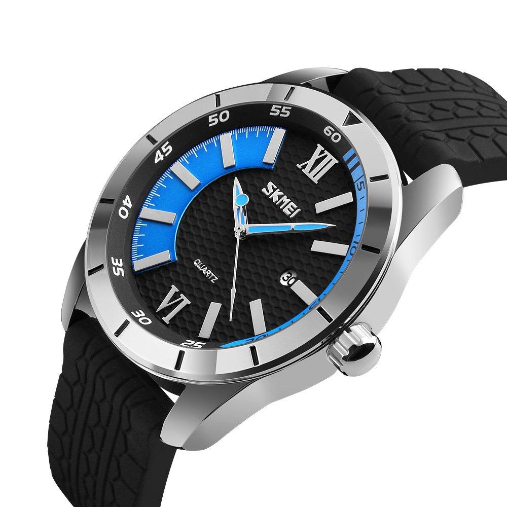 Sports Quartz Watches Men Fashion Casual 30M Water Resistant Watch Silicone Strap Wristwatches Blue