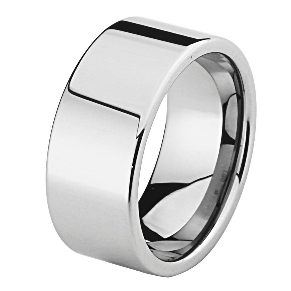 10MM THICK Wellingsale LUXE Series Cobalt Free, Comfort Fit Flat Tungsten Wedding Band Ring with Smooth Rounded Edges for Comfortable Wearing in Mirror High Polished Finish for Men and Women - Size 13