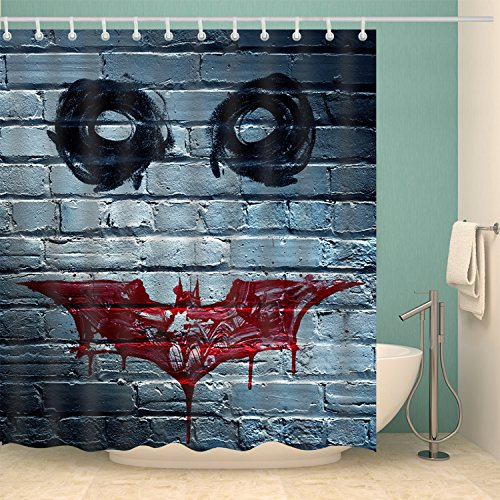 Bartori Decorative Shower Curtain Horror Clown Face on The Wall Like The Joker in Batman Waterproof Polyester Fabric Bath Curtain with Hooks 71''X71'' -