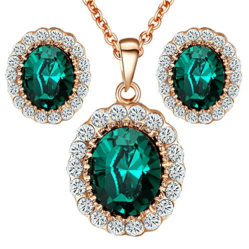 Yoursfs Green Crystal Jewelry Set Middleton Diana Style Halo Pendant Necklace & Stud Earrings Mothers Day Gift