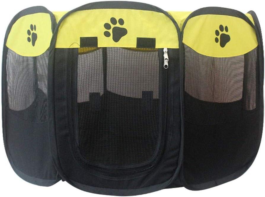 ペットテント閉鎖ペットプロダクションルーム屋内ペットプロダクションボックス屋外折りたたみ蚊テントペットゲームフェンス八面通気性ペットルーム (Color : 黄, Size : 72*72*45CM) 黄 72*72*45CM