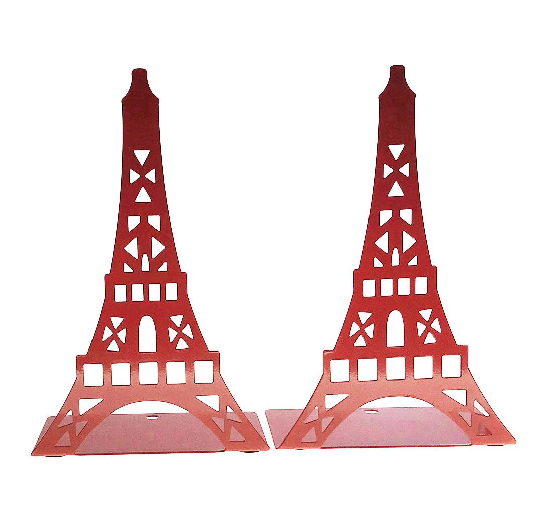 Arsdoll Hollow out France Paris Landmark Eiffel Tower Heavy Duty Nonskid Iron Metal Bookend Book Holder For Office School Library Home Study Decoration Gift (Red)