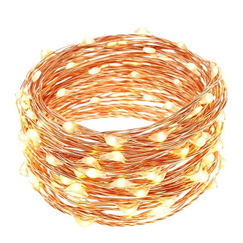 LUCKLED 100LED Starry String Lights, 33ft Fairy Decorative Copper Wire Rope Lights Lighting for Indoor/Outdoor
