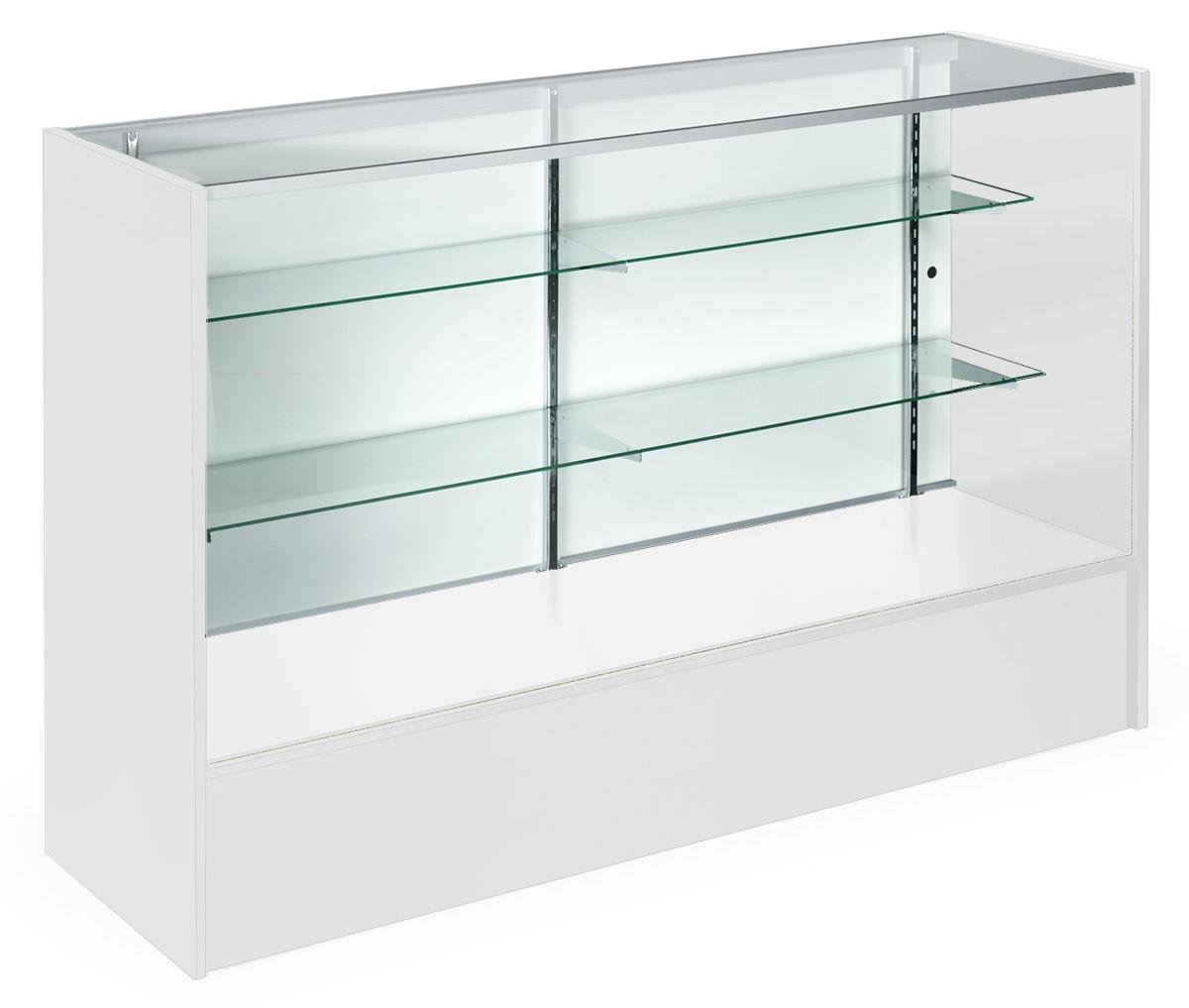 Displays2go Full Vision Display Cases, Melamine Panels, Anodized Aluminum, Tempered Glass Shelves - White (MRC5WHTKD)