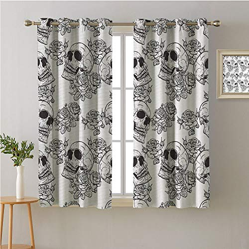 Jinguizi Skull Fabric The Yard Grommets Bedroom/Living,Blooms Retro Style Otherworld Textured Western Style Celtic Halloween Horror,Party Darkening Curtains,84W x -