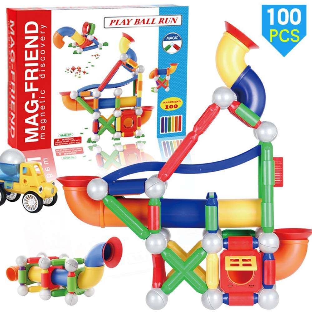 KODH Puzzle 100pcs Creative Building Building Block Magnetic Piece Stacking Game Suitable for Boys&Girls Parent-Child Interaction Assembly Magnetic Rod Toy Track Ball Slide Suit