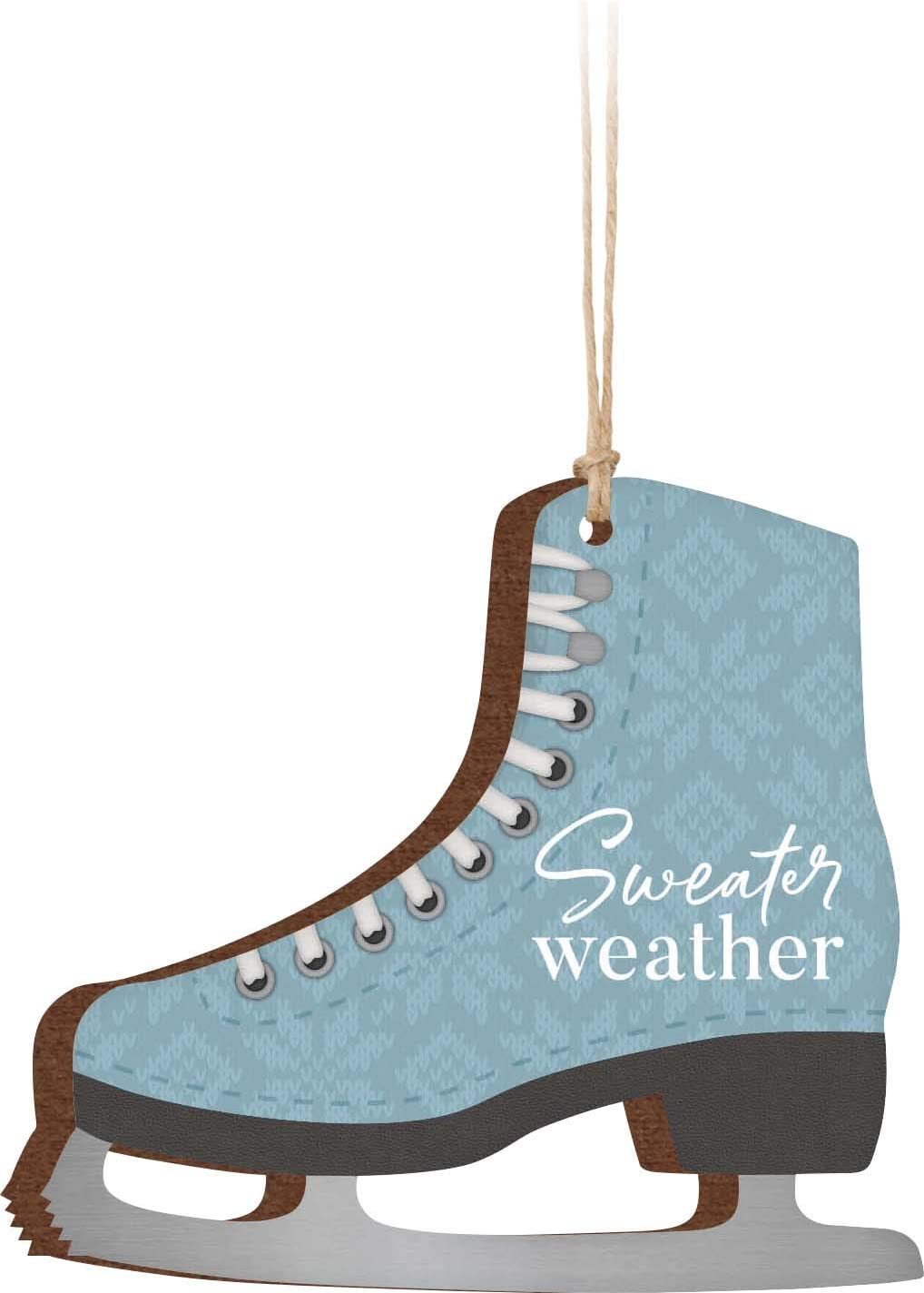 P. Graham Dunn Sweater Weather Ice Skate Arctic Blue 3.25 x 3 Wood Holiday Hanging Ornament