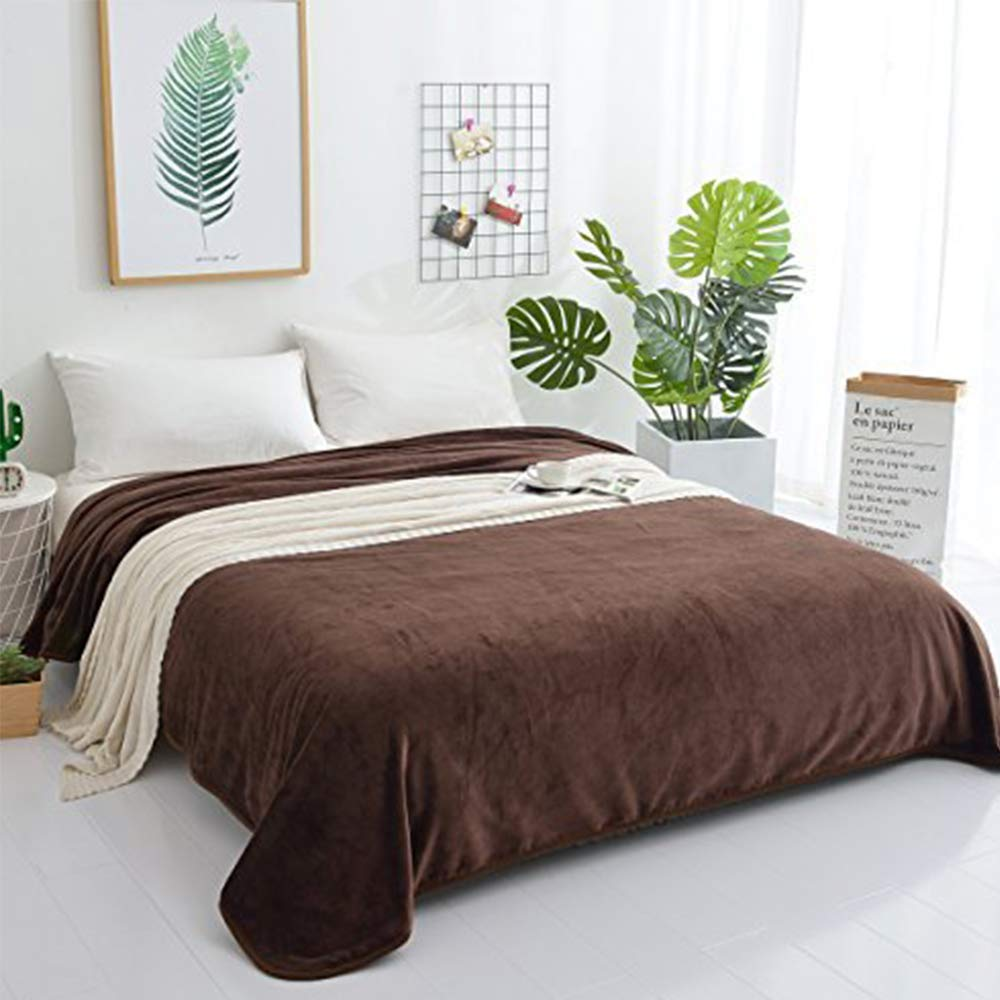PBEN Throw Blanket Luxury Solid Twin Size Sofa Blankets Lightweight Cozy Microfiber Blankets for All Seasons(Brown, Twin 66×90'')