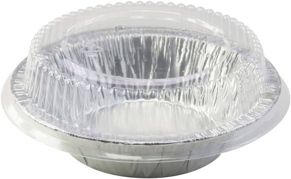 "5"" Aluminum Pie or Tart Pan Combo with Dome Lids. Pack of 25 pans and 25 Lids"