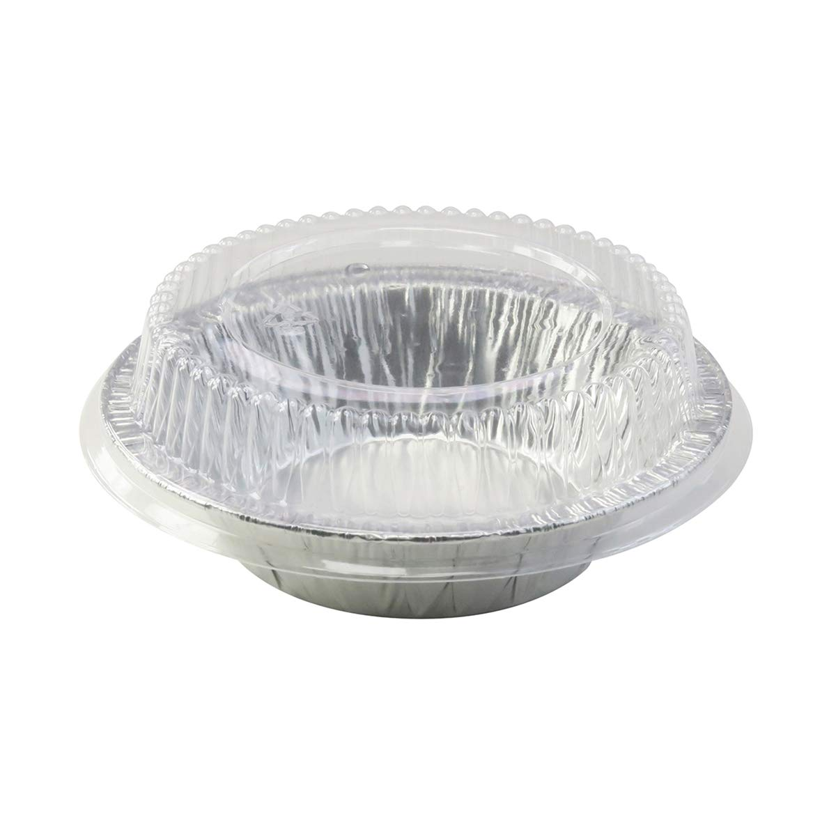 5'' Aluminum Pie or Tart Pan Combo with Dome Lids. Pack of 25 pans and 25 Lids