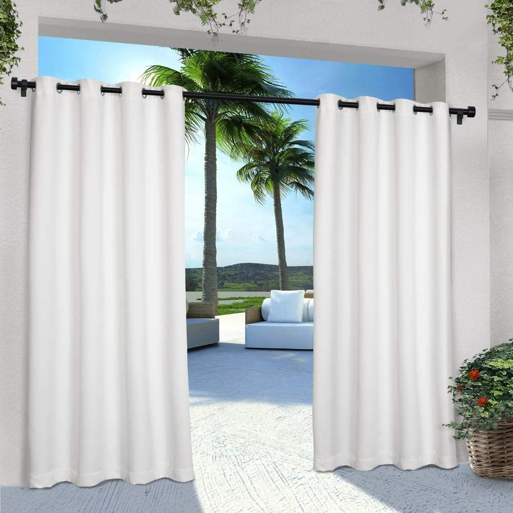 Exclusive Home Curtains Indoor/Outdoor Solid Cabana Window Curtain Panel Pair with Grommet Top, 54x96, Winter White, 2 Piece