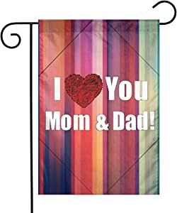 I Love You Mom&Dad Garden Flags House Indoor & Outdoor Welcome Decorations,Waterproof Polyester Yard Decorative for Game Family Party Banner