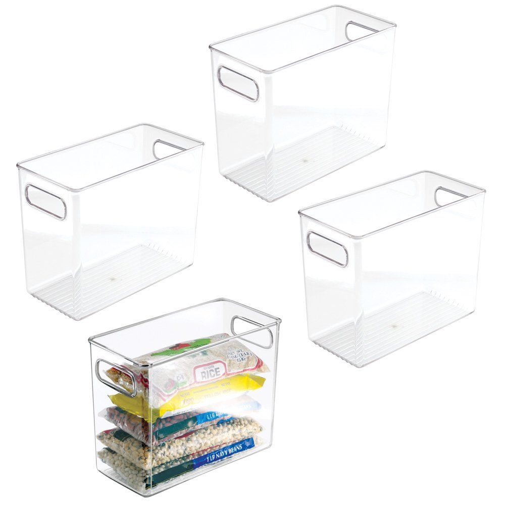 mDesign Plastic Kitchen Pantry Cabinet, Refrigerator or Freezer Food Storage Bins with Handles - Organizer for Fruit, Yogurt, Snacks, Pasta - Food Safe, BPA Free, 4 Pack, 10'' Long - Clear