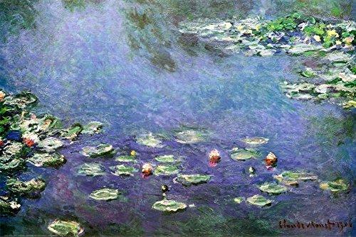 Claude Monet Water Lilies in blue Art Print Poster