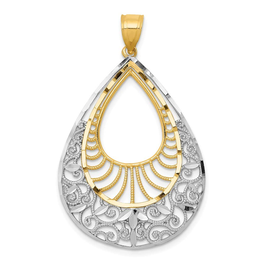 Mia Diamonds 14k Yellow Gold with Rhodium Diamond-cut Filigree Teardrop Pendant