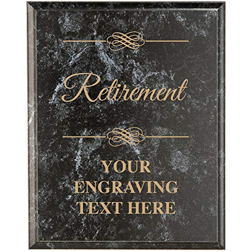 Crown Awards Corporate Employee Recognition Plaques - 8 x 10 Retirement Classic Black Etched Recognition Trophy Plaque Award Prime