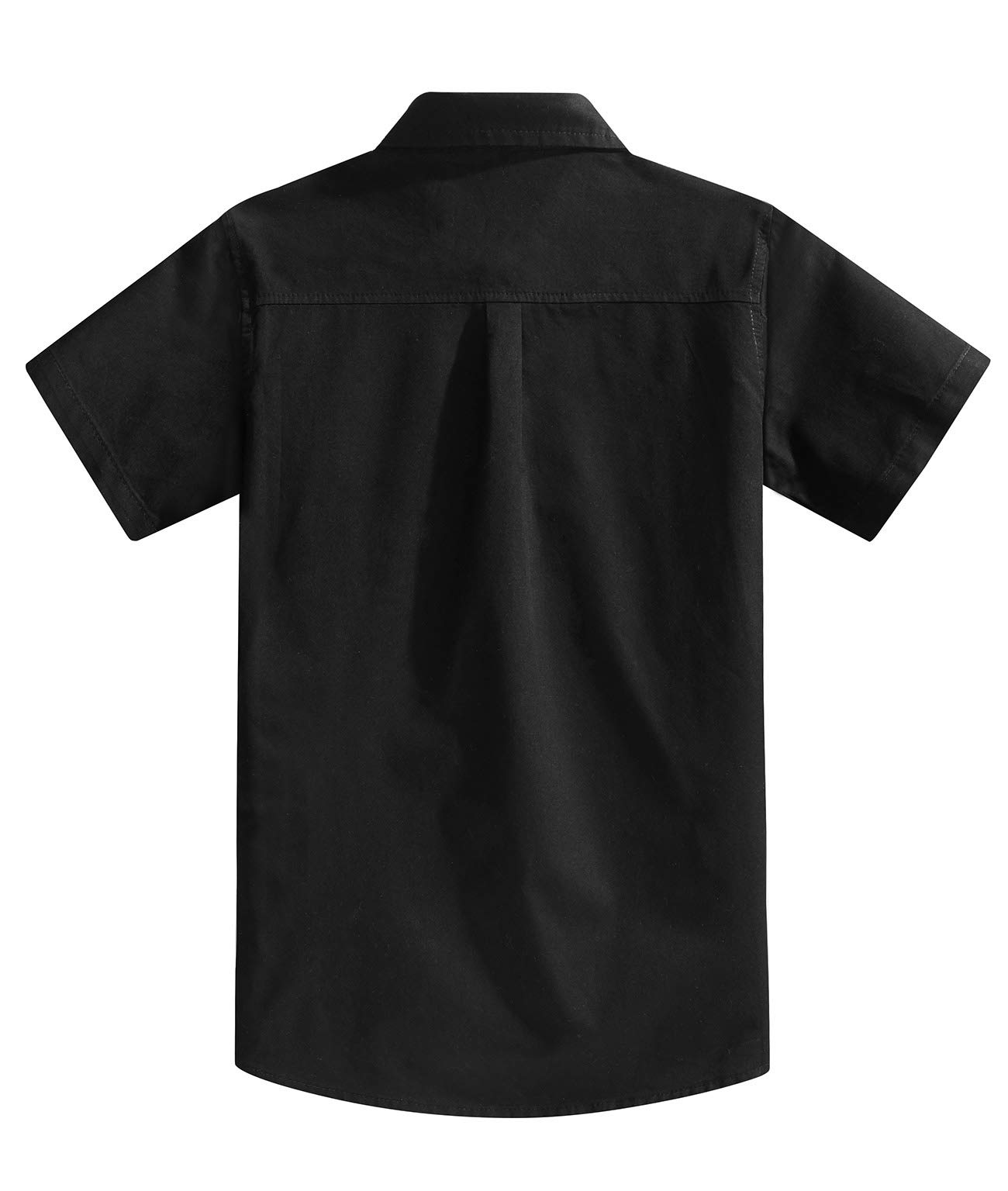 Spring&Gege Boys' Short Sleeve Solid Formal Cotton Twill Dress Shirts Black 5-6 Years by Spring&Gege (Image #2)