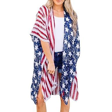 0aed07e7b00 Sixcup Women American Flag Print Beach Casual Loose Shawl Kimono Cardigan  Top Cover Blouse Beachwear Cover up White  Amazon.co.uk  Clothing