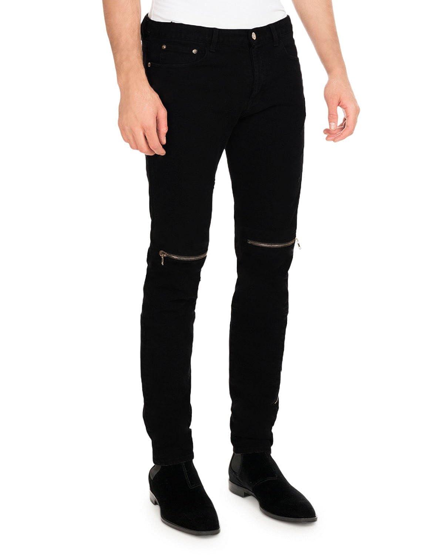 new arrival uk store info for oiin Damler Men's Slim fit Black Round Pocket Knee Zipper Damaged Ripped  Jeans