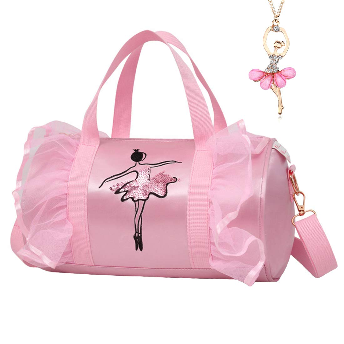 Cute Ballet Dance Bag Tutu Dress Bag with Necklace Girls (Pink2 of Long Mesh) by Debbieicy